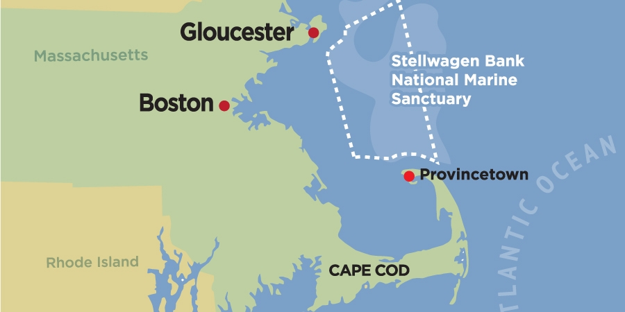 Map of Stellwagen Bank off Massachusetts Coast